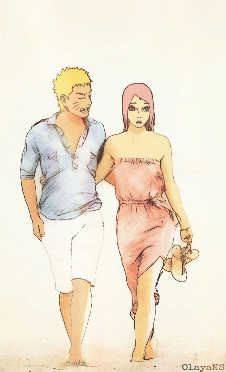 Mr Uzumaki & Mrs Uzumaki-Haruno on the beach